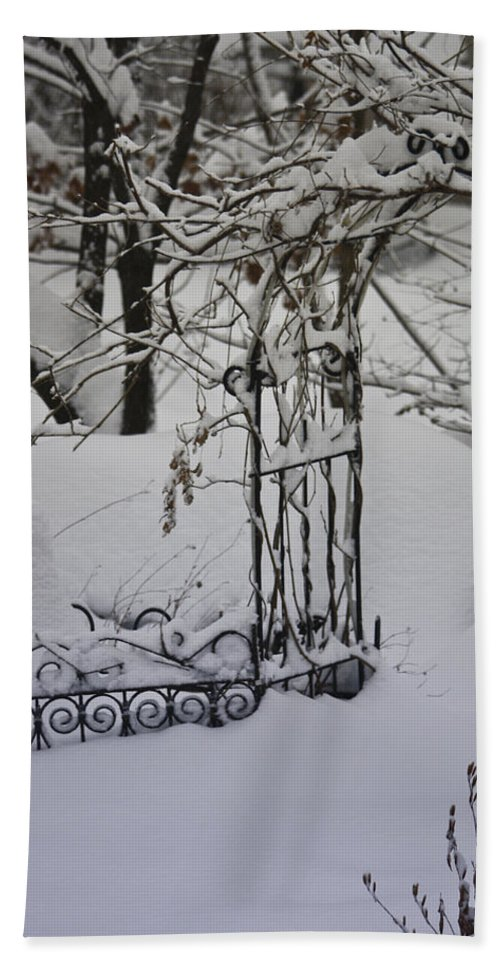 Snow Hand Towel featuring the photograph Snow Covered Wisteria Arch by Teresa Mucha