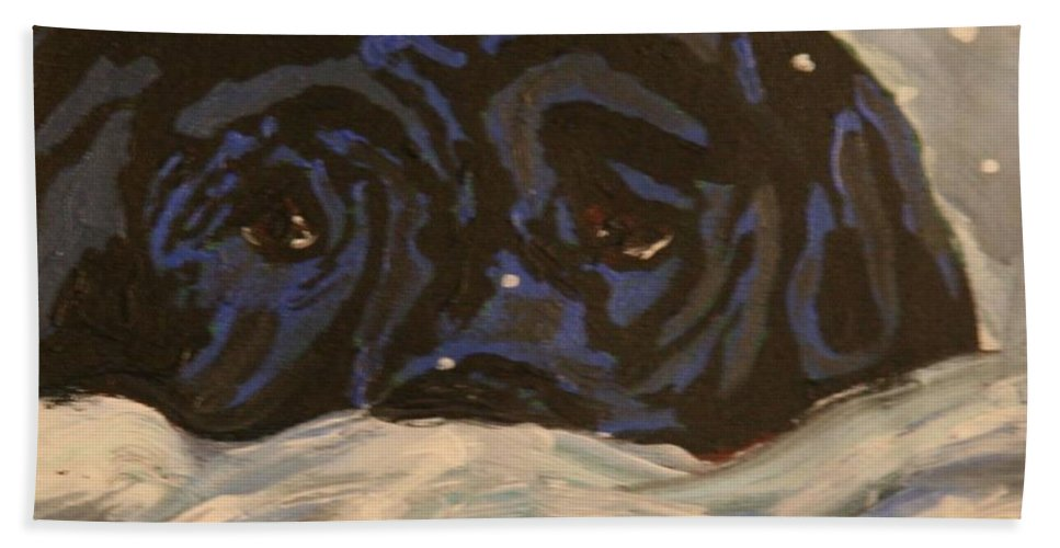 Labrador Retriever Bath Sheet featuring the painting Snow Day by Marilyn Quigley