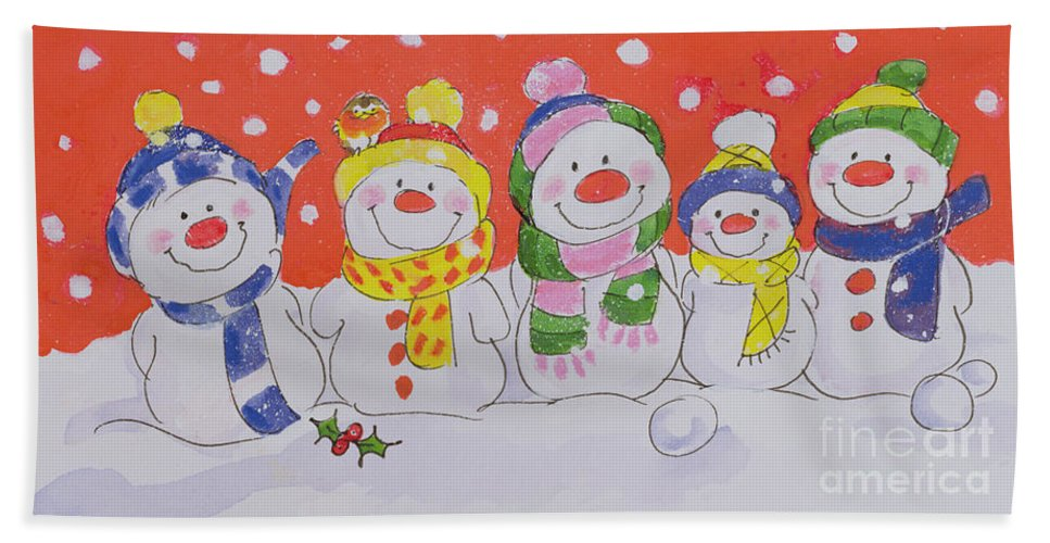 Snow Family (w/c And Ink On Paper) By Diane Matthes (contemporary Artist) Bath Sheet featuring the painting Snow Family by Diane Matthes