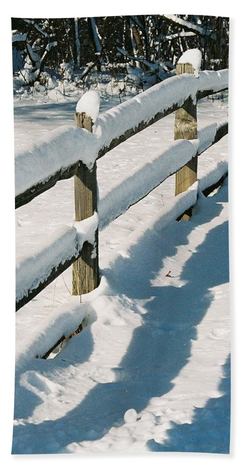 Fence Hand Towel featuring the photograph Snow Fence by Lauri Novak