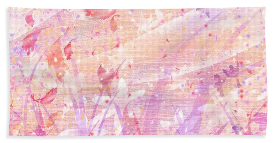 Abstract Hand Towel featuring the digital art Snow Flowers by Rachel Christine Nowicki