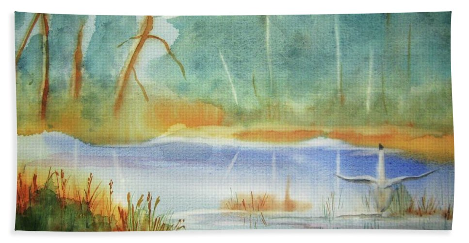 Goose Bath Sheet featuring the painting Snow Goose Landing by Ellen Levinson