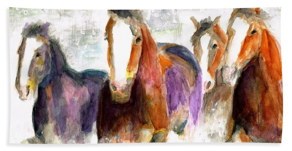 Horses Bath Sheet featuring the painting Snow Horses by Frances Marino