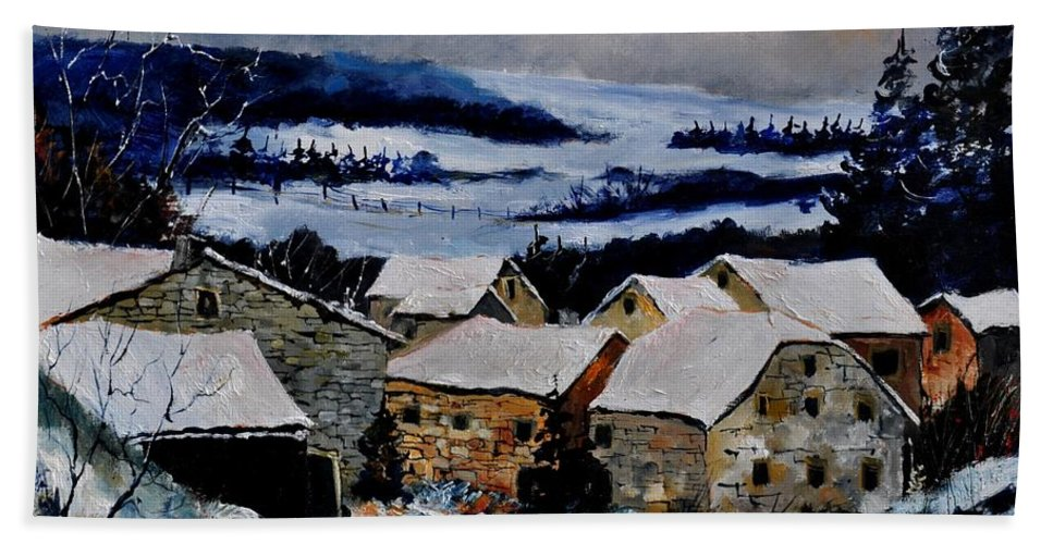 Landscape Hand Towel featuring the painting Snow In Ardennes 79 by Pol Ledent