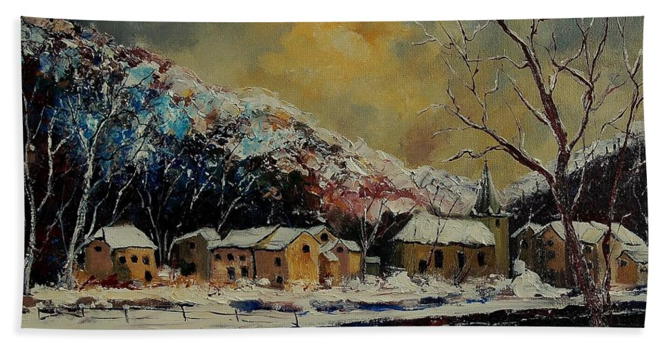 Winter Bath Towel featuring the painting Snow In Bohan by Pol Ledent