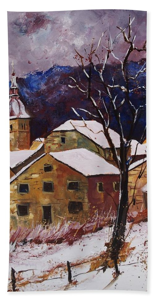 Landscape Bath Towel featuring the painting Snow In Chassepierre by Pol Ledent