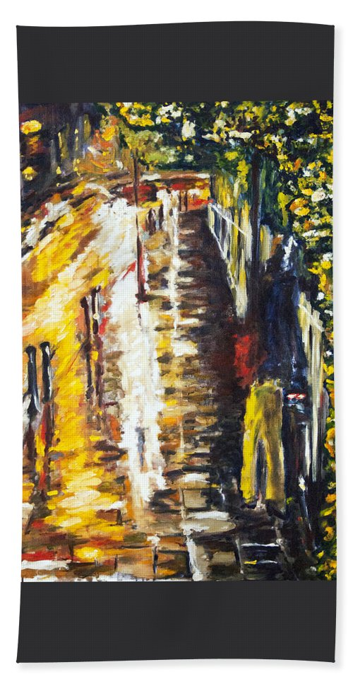 Landscape Hand Towel featuring the painting snow in Hastings by Pablo de Choros