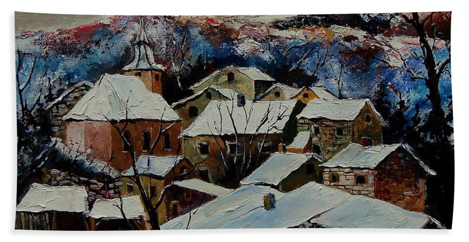 Winter Bath Sheet featuring the painting Snow in Laforet 78 by Pol Ledent