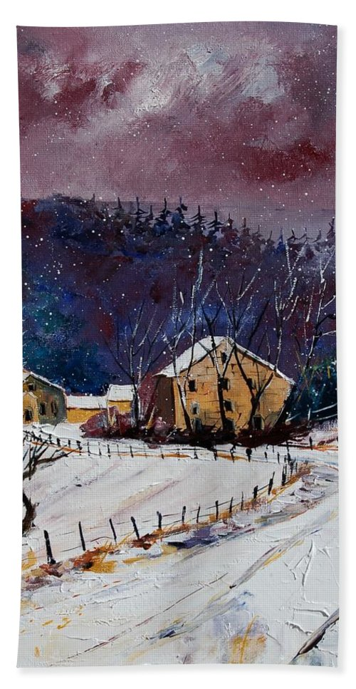 Landscape Hand Towel featuring the painting Snow In Sechery by Pol Ledent