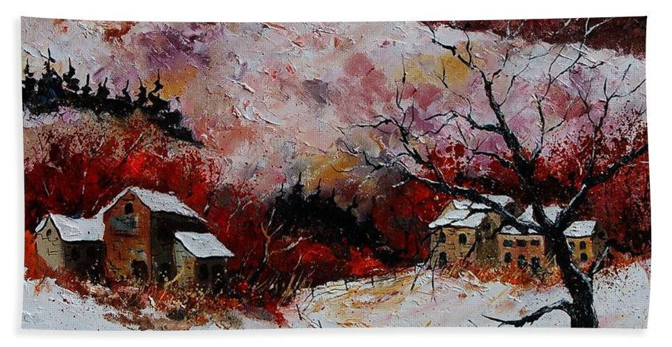 Snow Hand Towel featuring the painting Snow In The Ardennes 78 by Pol Ledent