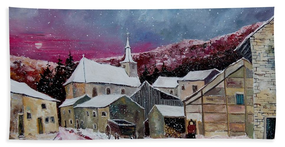 Snow Hand Towel featuring the painting Snow Is Falling by Pol Ledent