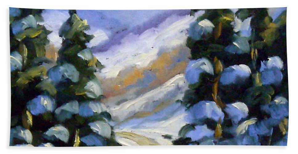 Art Bath Towel featuring the painting Snow Laden Pines by Richard T Pranke