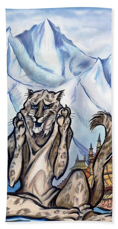 Ice Hand Towel featuring the painting Snow Leopard by Kevin Middleton