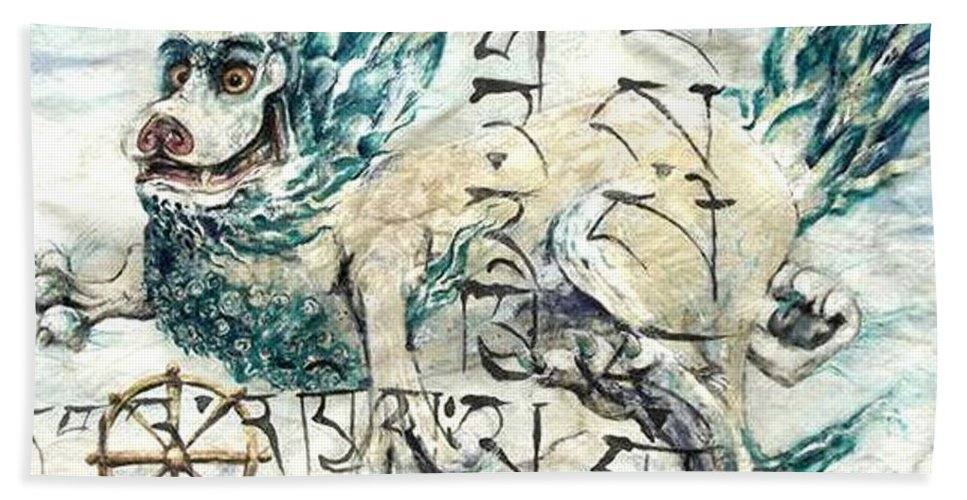 Snow Lion Bath Sheet featuring the painting Snow Lion by Silk Alchemy