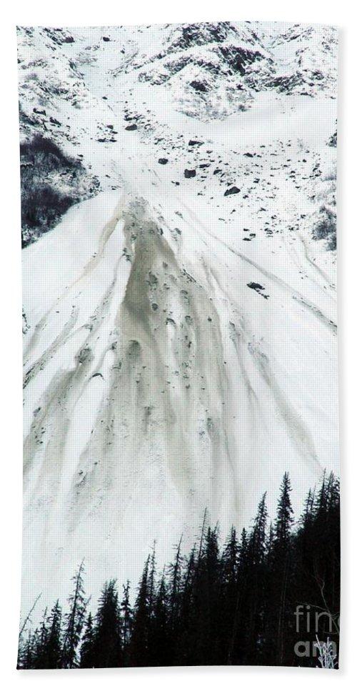 Landscape Bath Towel featuring the photograph Snow Then Land Slide by Ron Bissett