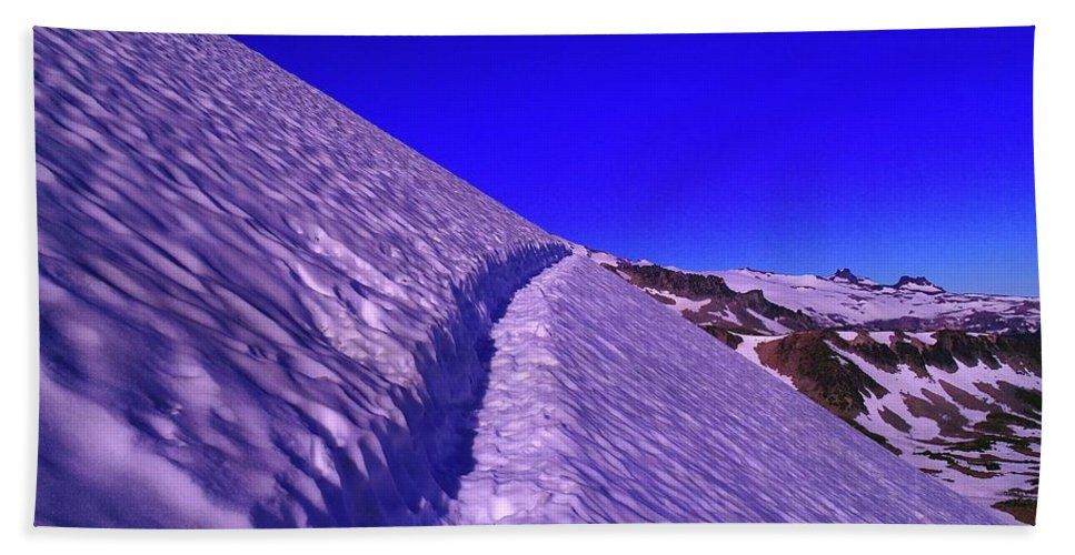 Sunrise Bath Sheet featuring the photograph Snow Trail by Jeff Swan