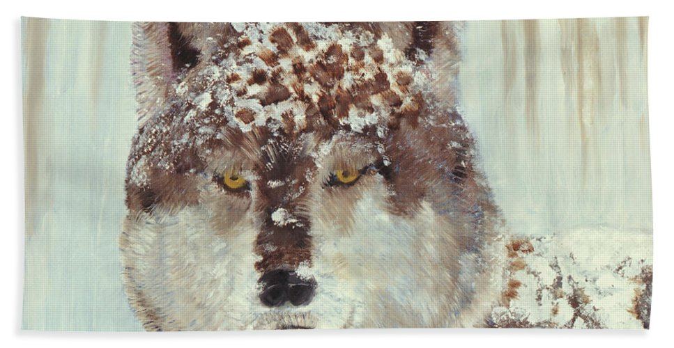 Dog Hand Towel featuring the painting Snow Wolf by Terry Lewey