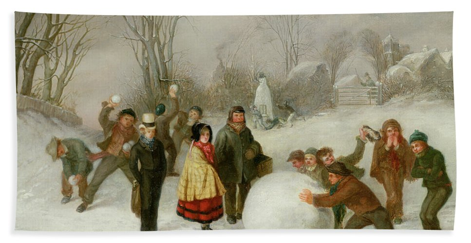 Snowballing Bath Sheet featuring the painting Snowballing  by Cornelis Kimmel