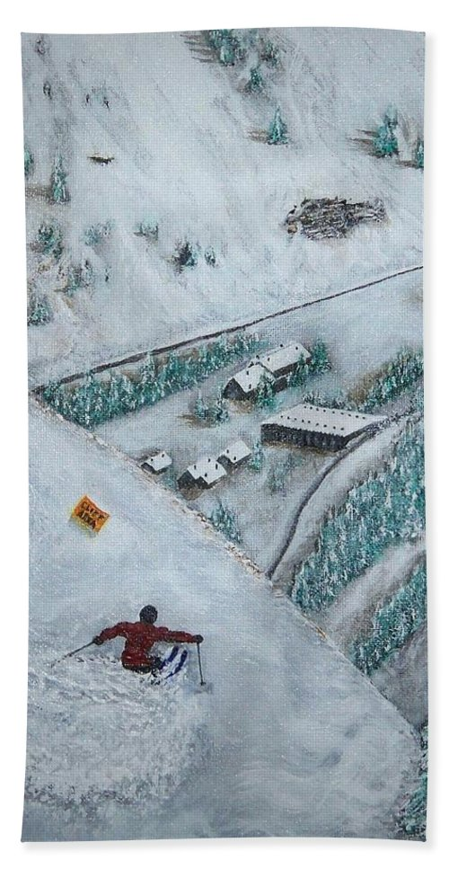 Ski Hand Towel featuring the painting Snowbird Steeps by Michael Cuozzo