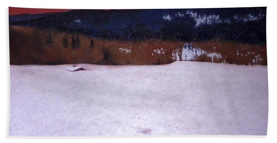 Pastel Bath Towel featuring the painting Snowbound by Mary McInnis