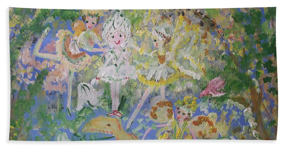 Snowdrop Bath Towel featuring the painting Snowdrop The Fairy And Friends by Judith Desrosiers