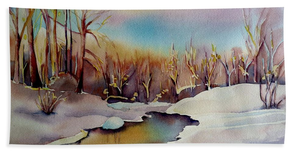Winterscene Bath Towel featuring the painting Snowfall by Carole Spandau