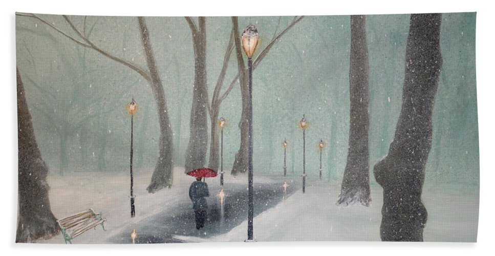 Snow Hand Towel featuring the painting Snowfall In The Park by Ken Figurski