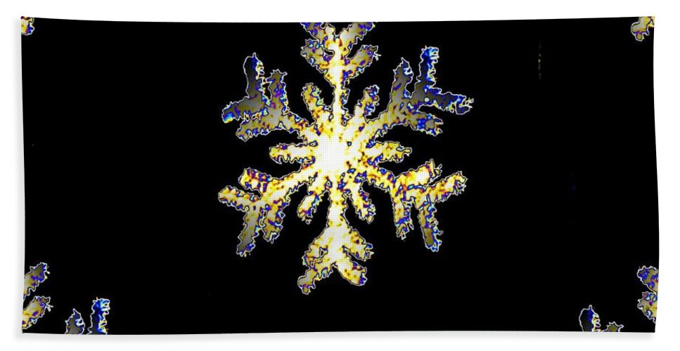 Snow Hand Towel featuring the photograph Snowflakes by Tim Allen