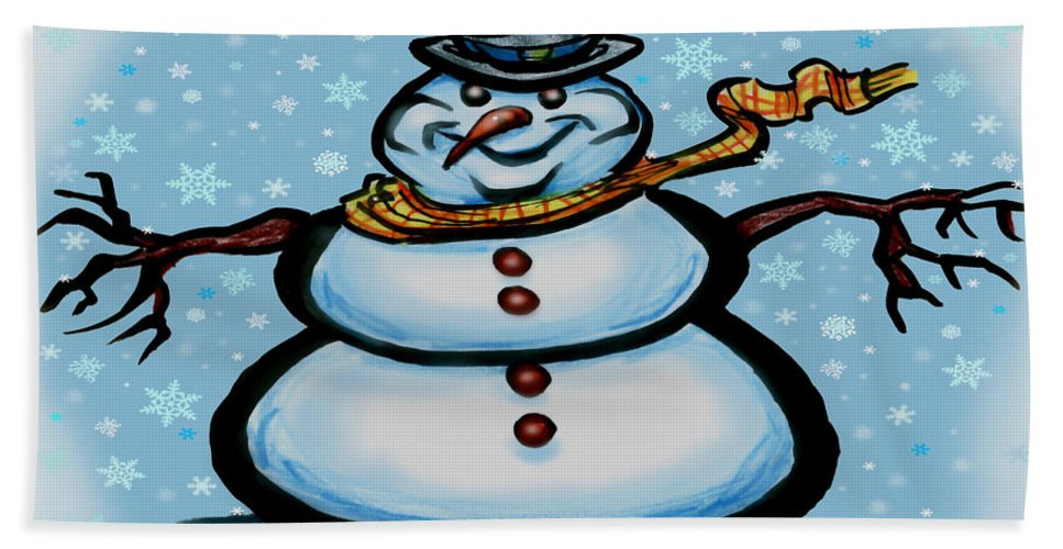 Snowman Hand Towel featuring the greeting card Snowman by Kevin Middleton