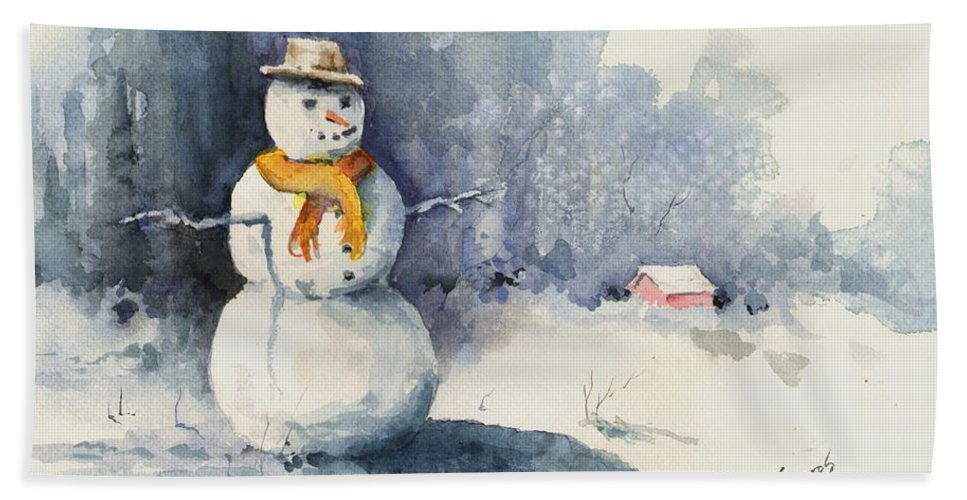 Snow Hand Towel featuring the painting Snowman by Sam Sidders