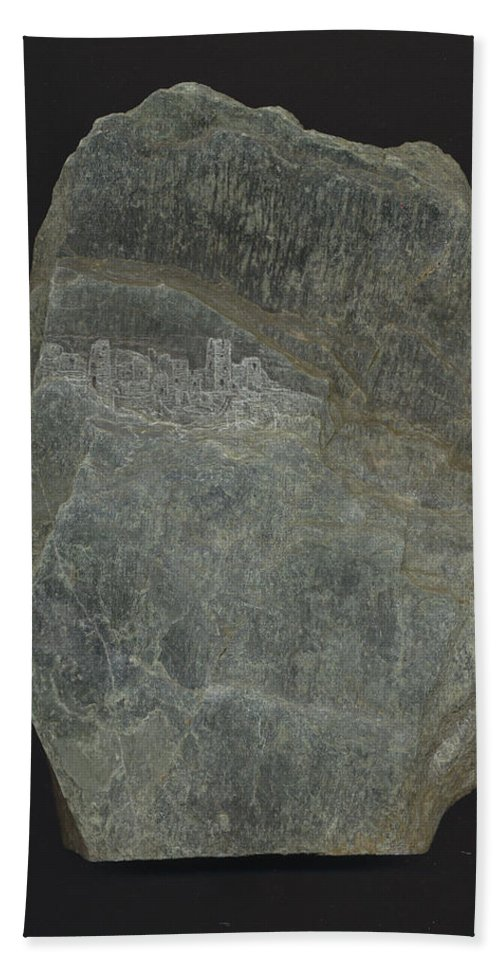 Stone Hand Towel featuring the mixed media Snowswept Cliff Palace by Richard Bulman