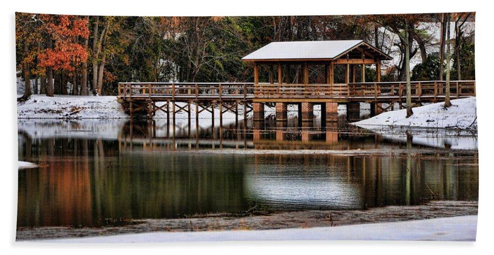 Bridge Hand Towel featuring the photograph Snowy Bridge by Susan Cliett