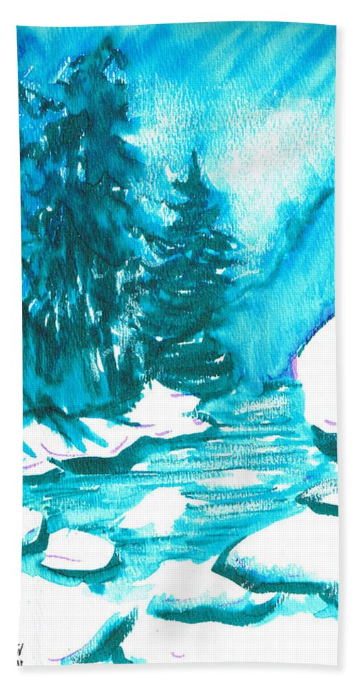 Chilling Hand Towel featuring the mixed media Snowy Creek Banks by Seth Weaver