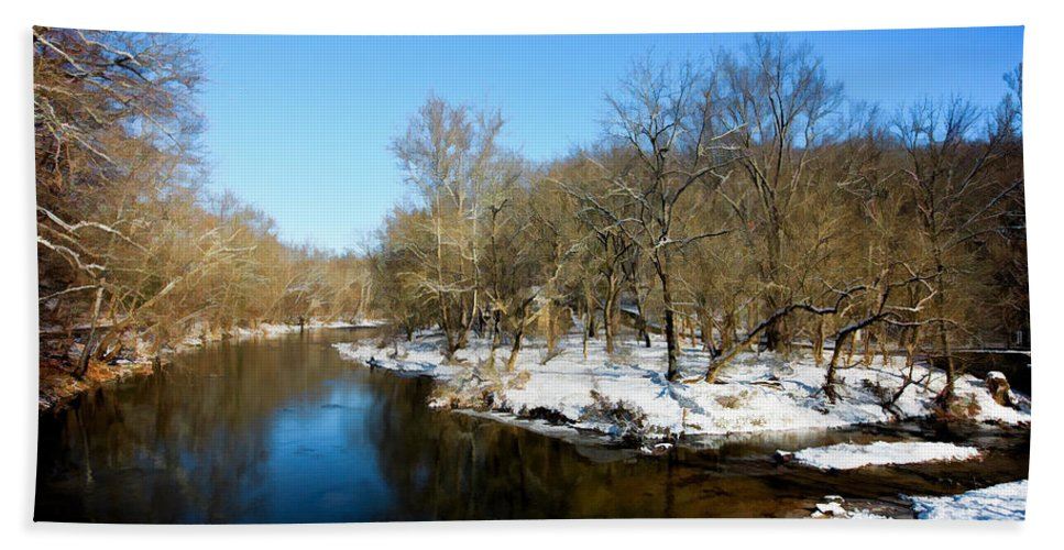 Landscape Bath Sheet featuring the photograph Snowy Creek Morning by William Jobes