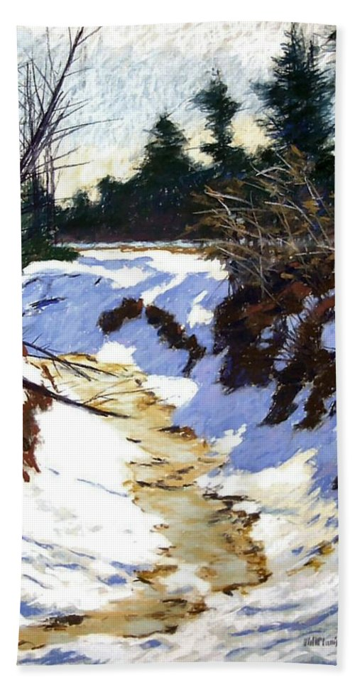 Pastel Hand Towel featuring the painting Snowy Ditch by Mary McInnis