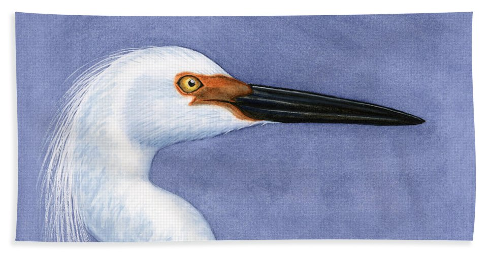Snowy Bath Sheet featuring the painting Snowy Egret Portrait by Charles Harden