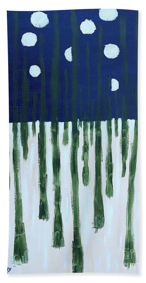 Snow Bath Sheet featuring the painting Snowy Forest At Midnight by Patrick J Murphy