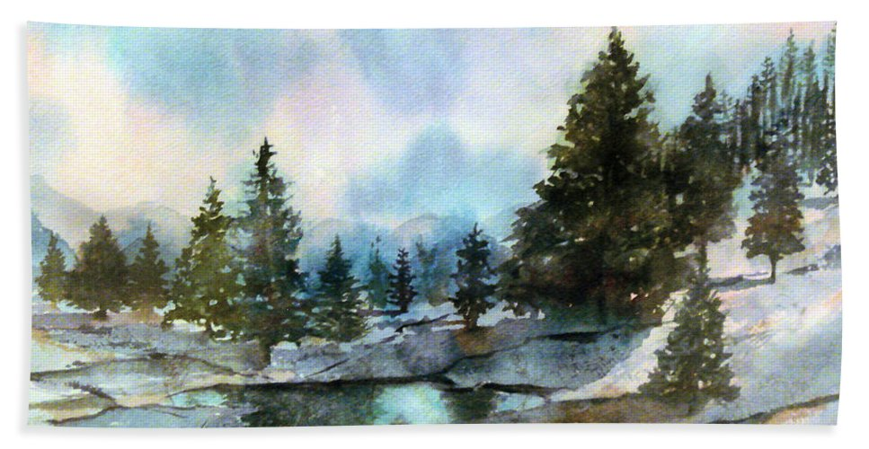 Watercolor Bath Towel featuring the painting Snowy Lake Reflections by Debbie Lewis