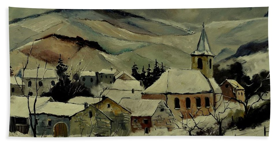 Landscape Hand Towel featuring the painting Snowy Landscape 780121 by Pol Ledent