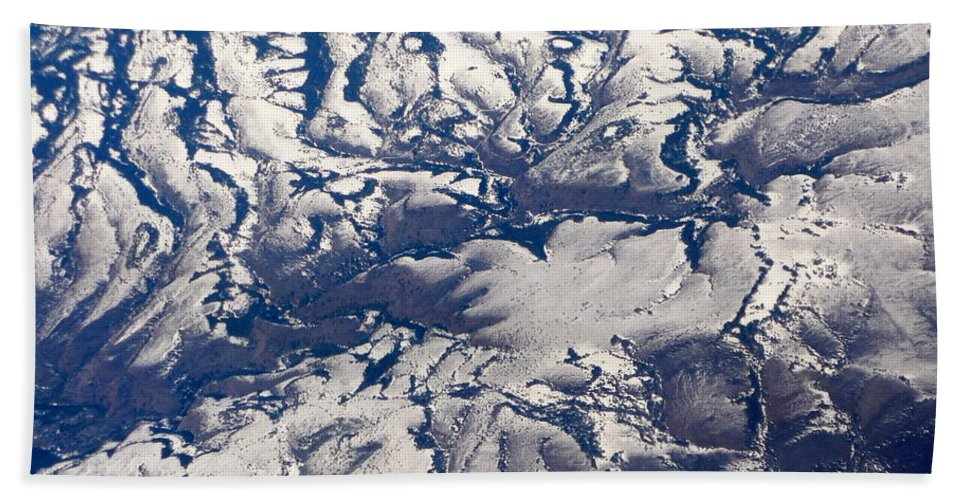 Aerial Bath Towel featuring the photograph Snowy Landscape Aerial by Carol Groenen