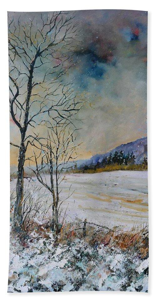 Landscape Hand Towel featuring the painting Snowy landscape by Pol Ledent