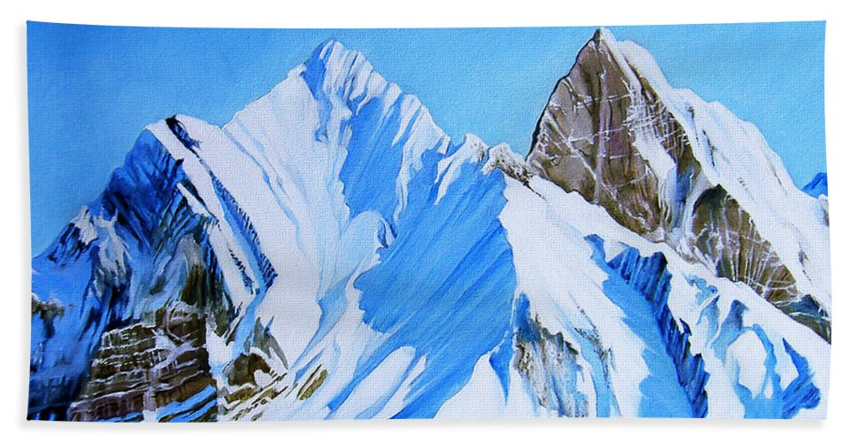 Snow Hand Towel featuring the painting Snowy Mountain by Juan Alcantara