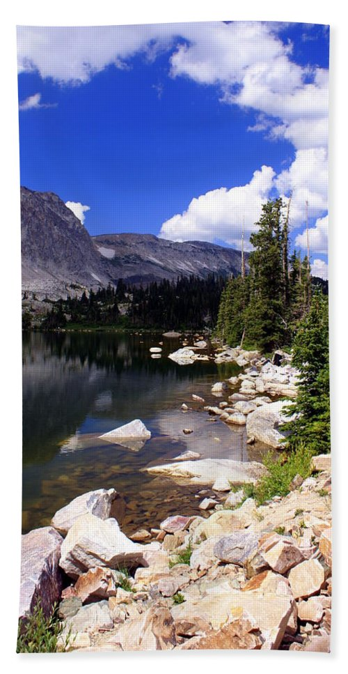 Snowy Mountains Hand Towel featuring the photograph Snowy Mountain Lake by Marty Koch