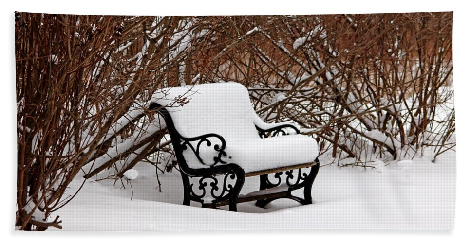 Bench Hand Towel featuring the photograph Snowy Park Bench by Debbie Oppermann