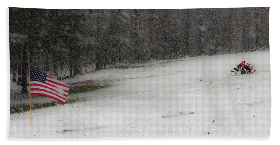 Snow Hand Towel featuring the photograph Snowy Patriot Quantico National Cemetery by Teresa Mucha