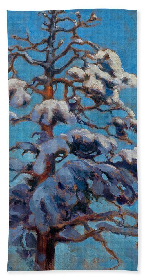 Akseli Gallen-kallela Hand Towel featuring the painting Snowy Pine-tree by Akseli Gallen-Kallela