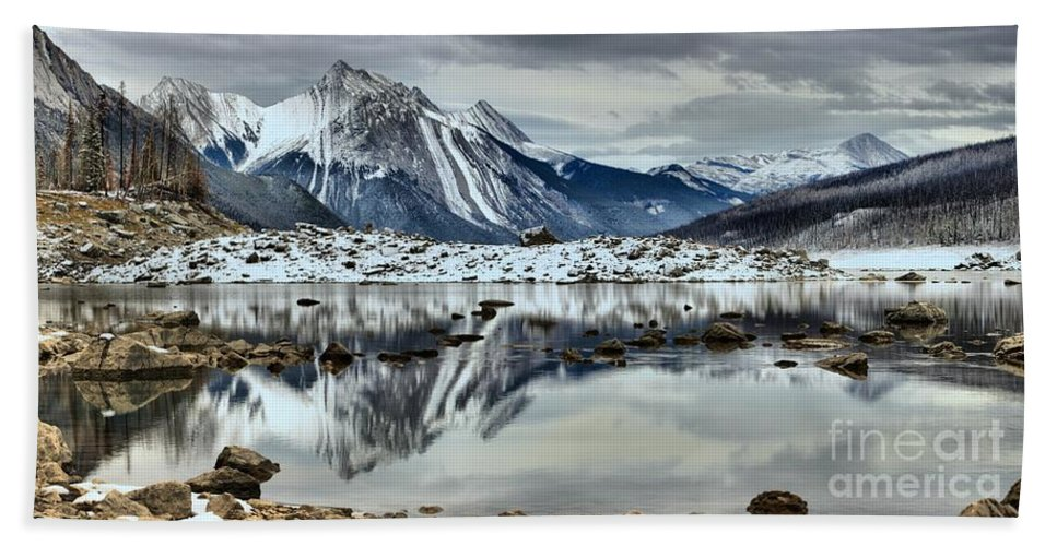 Bath Sheet featuring the photograph Snowy Reflections In Medicine Lake by Adam Jewell
