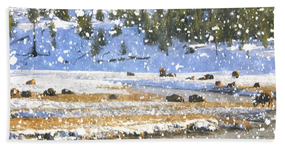 Yellowstone Bath Sheet featuring the photograph Snowy River by Image Takers Photography LLC - Carol Haddon