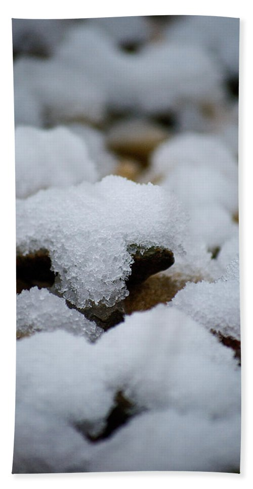 Snow Bath Sheet featuring the photograph Snowy Stones by Lisa Knechtel