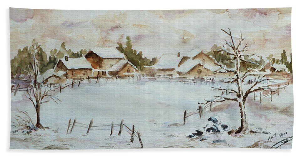 Winter Hand Towel featuring the painting Snowy Village by Xueling Zou